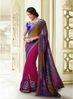 Vivacious Magenta & Orange Embroidered #Saree #designersarees #clothing #womenswear #womenapparel #ethnicwear