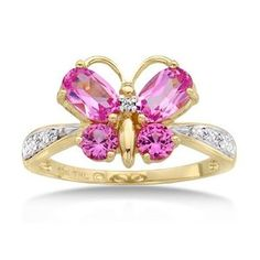 Pink Sapphire and Diamond Yellow Gold Butterfly Ring
