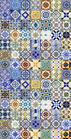The azulejo is one of the strongest cultural expressions in Portugal and one of the most original contributions of the creativity genius of the Portuguese in world culture. Tile Patterns, Textures Patterns, Portuguese Tiles, Turkish Tiles, Moroccan Tiles, Tile Design, Islamic Art, Interior Design, Prints