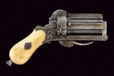 "peashooter85: ""An ivory handled pinfire pepperbox revolver, mid 19th century. """