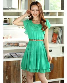 Ladylike Crochet Lace Embellished Sold Color Chiffon Pleated Dress With Belt For Women (GREEN,M) China Wholesale - Sammydress.com