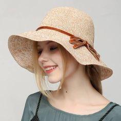 2a9214b3 Casual bow sun hat for women summer beach crochet straw hats  #SunHatsForWomen Top Hats For