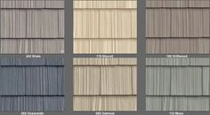 Vinyl siding that looks like wood shakes. I like Oceanside with heavy white trim.