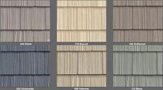 Vinyl siding that looks like wood shakes. I like Oceanside with heavy white trim.