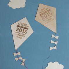 Personalised Wooden Birth Details Kite