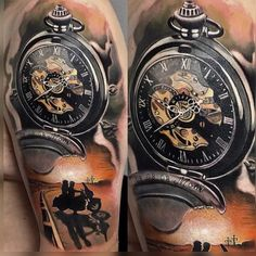 Clock tattoo art by Marco Klose