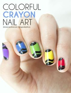 "It's almost that ""Back to School"" time, and who doesn't love a fresh box of crayons? Celebrate with this colorful mani! #nailart #nails #crayons"