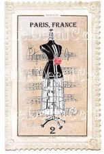 ONE-OF-A-KIND! ~ PARIS DRESS FORM LABEL DECALS ~shabby FRENCH chic ALTERED ART
