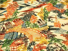 RARE 50 long..... Vintage Japanese bingata by CosimaOrimono, $45.00