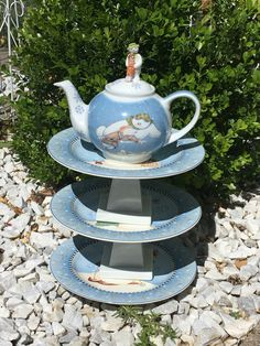 Winter decoration, snowman décor, teapot whimsy, ceramic garden whimsy…