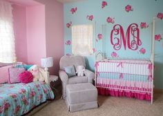 Isn't the room stunning? Learn how to create this hand painted roses in your nursery. #DIY #nursery