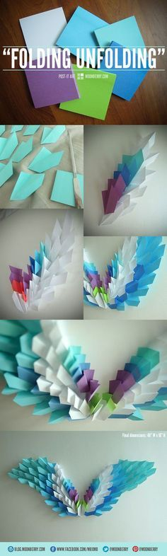 "DIY wall art using post-its. ""Folding Unfolding"" A design for The Avian Project. http://blog.moonberry.com/?p=5916"