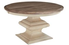 Amish Normandy Pedestal Dining Table The round top is set off nicely by the stunning squared base. Select custom distressing options to create a vintage look for the Normandy.