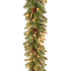 The Glittery Gold Pine is a mixed branch garland with glittered tips for added sparkle. This garland is trimmed with gold glittered red berries and pine cones. It is pre-strung with 100 clear lights t...