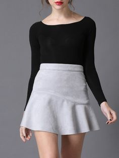 #StyleWe Shop Irina Miro Skirts - Gray Ruffled Faux Leather Mini Skirt online. Discover unique designers fashion at AdoreWe.net.
