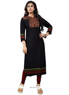 Embroidered Cotton   Party Wear Kurti In Black Model: YOKU439