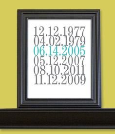Subway Art Date Print Important Dates Birth Dates by nelladesigns