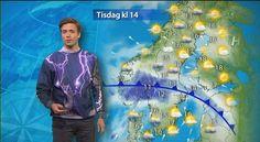 Nils Holmqvist gör succé med sin katt-tröja i tv-rutan.