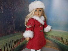 Reserved for Lorie:  1930s red winter coat and hat with fur trim for American Girl Doll Ruthie, Kit or similar 18 inch doll.  via Etsy.