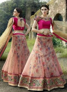 #Pink and #Cream Net #Lehenga #Choli Features a premium net lehenga with bhagalpuri print inner. This piece features a raw silk blouse with net fabric stone work dupatta.