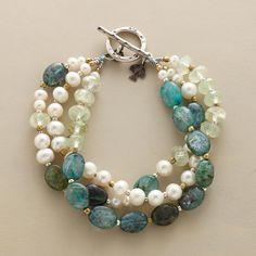 CRèME DE MENTHE BRACELET -- prehnite with luminous pearls and sea-blue kyanite. - Sundance