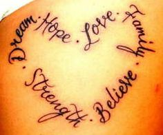 Love Hope Dream heart tattoo
