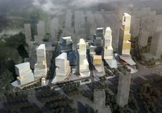 Bird eye view, Atelier Ashley Munday scheme for Business District Jinan China Architecture Drawings, Gothic Architecture, Futuristic Architecture, Architecture Design, Vancouver Architecture, Urban Concept, High Rise Building, Environment Design, Birds Eye View