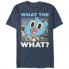 What the what? The Cartoon Network The Amazing World of Gumball What the What Heather Navy Blue T-Shirt is what's up!