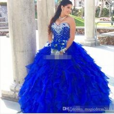 Royal Blue 2016 Quinceanera Dresses Cascading Ruffles Ball Gown Sweetheart Beaded Neckline Organza Corset Sweet 16 Party Dresses Prom Gowns Quinceanera Dress Formal Gowns Sweet 16 Dresses Online with 167.0/Piece on Magicdress2011's Store | DHgate.com