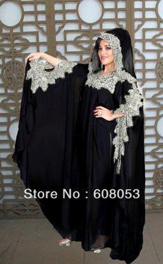 Vêtements à la mode abaya noire 2013 élégante. yx022