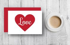"Printable Greeting Card, Valentines Day, Red Heart, Love, 3.5""x5"", Instant digital download by GraceDesignsDIY on Etsy https://www.etsy.com/listing/218695699/printable-greeting-card-valentines-day"