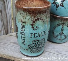 "Imagine Peace mug. Crop Circle Clay/etsy ""All we are saying is give peace a chance"" Stoneware Clay, Ceramic Cups, Ceramic Art, Pottery Mugs, Ceramic Pottery, Zentangle, Hippie Love, Crop Circles, Sgraffito"