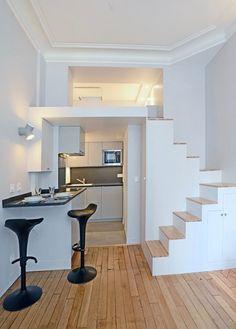 Montmartre Studio Loft Apartment - Paris, France #studioapartment #smallapartment #studioloft Space Saving Staircase, Small Staircase, Staircase Design, Staircase Ideas, Best Tiny House, Tiny House Plans, Small Room Design, Tiny House Design, Deco Design