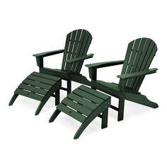 POLYWOOD South Beach 4-Piece Adirondack Chair and Ottoman Set Adirondack Chairs, Outdoor Chairs, Outdoor Decor, Fire Pit With Rocks, Chair And Ottoman Set, Chisel Set, Beach Chairs, South Beach, Woodworking Plans