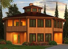 Octagonal Vacation Home with Conversation Pit - 3897JA | Contemporary, Modern, Mountain, Vacation, Narrow Lot, 1st Floor Master Suite, CAD Available, Drive Under Garage, Media-Game-Home Theater, PDF, Sloping Lot | Architectural Designs