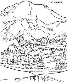Mt. Rainier National Park Coloring Page