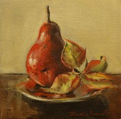 Jonelle Summerfield Oil Paintings: Red Pear and Poinsettia