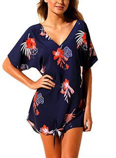 Confident Beach Printed Sexy Casual Holiday Crew Neck Women Blouse Swimwear Stylish Chiffon Tassel Cover Up Batwing Sleeve Summer Bikini Women's Clothing