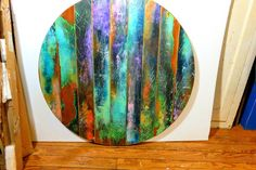 reserved for Natasha - colorfully painted round table top made from reclaimed wood from vintage doors.