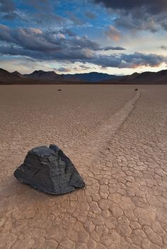 Sliding rocks on Racetrack Playa, Death Valley National Park, California
