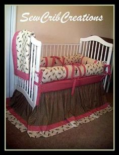 Deluxe Sock Monkey Custom Baby Crib Bedding with Appliqued Crib Quilt, Sock Monkey and red and white gingham check fabric border: The deluxe Sock Monkey custom baby bedding set that you see in the pictures is a favorite with my customers. To make the crib set truly unique and one-of-a-kind,
