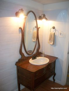 Antique Furniture Turned Into Bathroom Vanity Becky