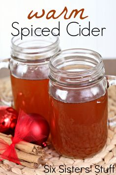 Happy Holidays This recipe for warm spiced cider sound delicious and like the perfect idea for cold winter nights! you can find similar pins below. Holiday Drinks, Fun Drinks, Yummy Drinks, Beverages, Christmas Drinks, Christmas Time, Christmas Paper, Christmas Desserts, Christmas Treats