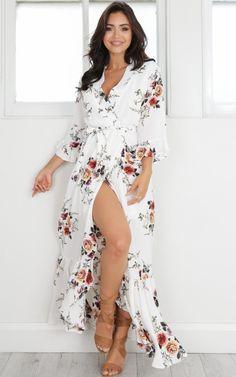 showpo dress, white dress, dress, white floral dress, white