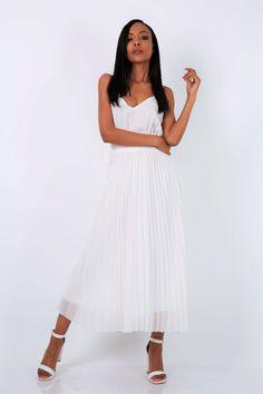 Dlhé plisované biele letné šaty na ramienka - ROUZIT.SK Midi Skirt, White Dress, Skirts, Dresses, Fashion, Vestidos, Moda, Midi Skirts, Skirt