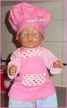 keukenschort en koksmuts voor Babyborn www.poppenmode.com