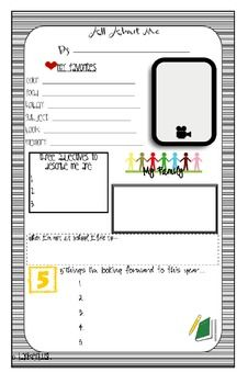 Great beginning of the year activity for students. It is an ALL ABOUT ME POSTER that incorporates: favorites, information about their family, their goals they have for the year, and a box for a photograph. Please note: This item will be printed on paper. End Of Year Activities, Team Building Activities, All About Me Poster, Preschool Journals, Beginning Of Year, My Themes, School Organization, New Beginnings, School Projects