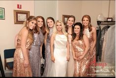 A sparkling real Vow wedding! Our beautiful bride Shelby and her bridesmaids in sequin cloud and feather @donnamorgannyc Courtney and Tiffany dresses. Rent the look at vowtobechic.com!
