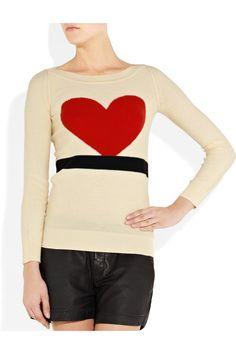 SONIA BY SONIA RYKIEL  Heart intarsia knitted cotton sweater  $295