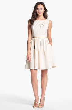 Ellen Tracy Pleated Fit & Flare Dress